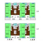 空き部屋は102、201、202、203です(間取)